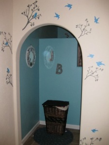 Here is a picture of our sky blue bathroom with the bird branch decals lining the entry way!